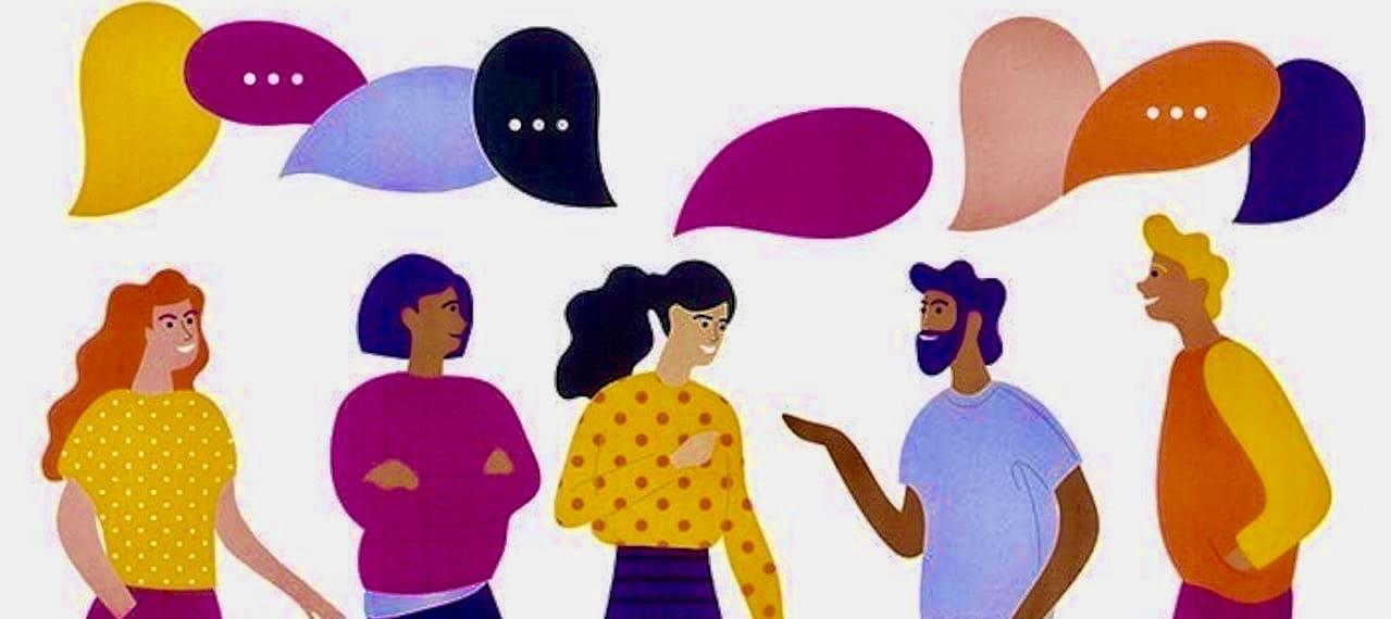 カラフルなイラストで、フランス人の男女5人が楽しそうに日常会話を交わしている様子を表現しています。